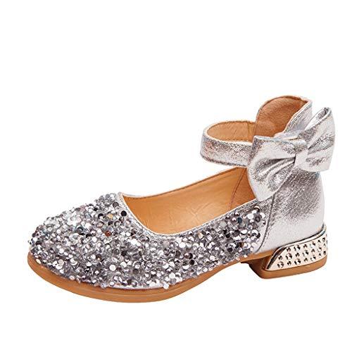 Luckycat Zapatos Zapatilla con Lentejuela para Niña Princesa Fiesta Niña Bailarina Zapatos de Tacón Disfraz de Princesa Zapatilla de Ballet para 4 a 10 Años EU27-33.5