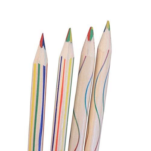 Ogquaton 10 Teile/los Regenbogen Farbe Bleistift 4 In 1 Buntstifte Set Zeichenstifte für Skizze, Kunst, Malbücher Langlebig und Nützlich