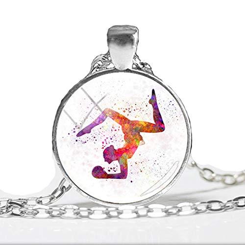 """Halskette mit Anhänger """"I Love Gymnastics"""" und """"Keep Calm and Love Gymnastics"""", rund, handgefertigt"""
