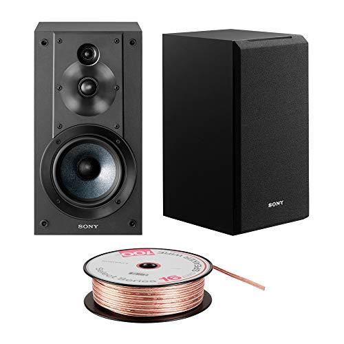 Sony SSCS5 3-Way 3-Driver Bookshelf Speaker System (Black) Bundle with 100 feet, 16AWG Speaker Wire
