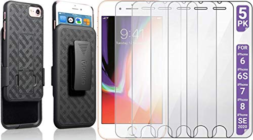 Aduro Case & Screen Protector Bundle for Apple iPhone SE2/8/7/6/6s 4.7-inch (NOT Plus), Combo Shell & Holster Case with Kickstand & 5X Pack Shatterguardz Tempered Glass