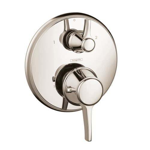 hansgrohe 15752831 C Thermostatic Valve Trim with Volume Controls, Small, Polished Nickel