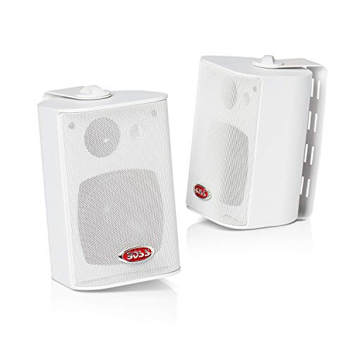 Boss Audio MR4.3W 200-Watt 3 Way Marine 4-Inch Enclosed System Speaker, White