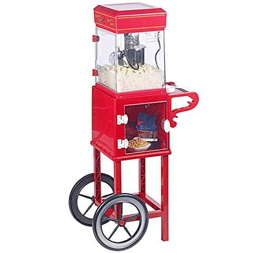 Monsterzeug Popcornmaschine mit Wagen, Retro Popcornmaker mit Innenbeleuchtung im 50er Jahre Look, inklusive Edelstahltopf