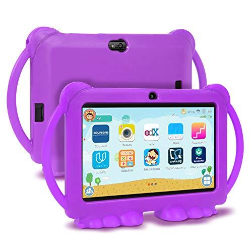 Xgody Kids Edition Tablet, 7-Zoll-HD, Kindersicherung, Für die Internet Cloud Klasse, Android 8.1 GMS, 16 GB, Quad Core, Violett kindgerechte Hülle