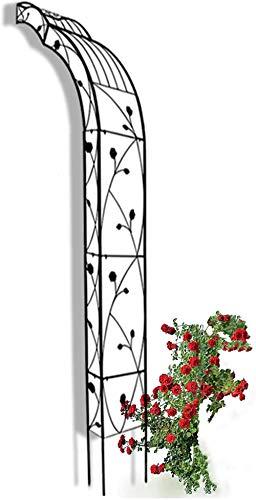 CDFCB Half Garden Arch para Escalar Plantas al Aire Libre Montado en la Pared Rose Arbor Robusto Arco de Boda para el césped Backyard Patio Hotels Pergola Arbor Negro W75XH250 CM-Derecho