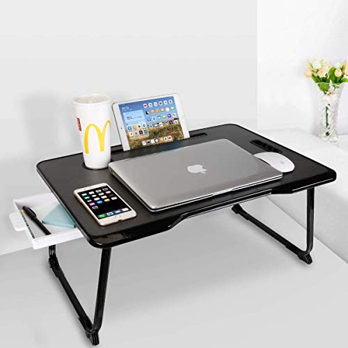 Aitmexcn Laptop Bed Table, Portable Laptop Desk, Office Notebook Stand With Handle & Card Slot & Cup Slot, for Breakfast, Homework, Office, Reading, Gaming -Black with Drawer