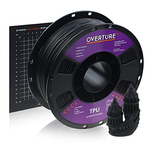 OVERTURE Filamento TPU 1.75mm con 3D Costruisci Superficie 200mm x 200mm Flessibile TPU Rotolo Consumo, 1kg Bobina(2.2lbs), Precisione Dimensionale + - 0.05 mm, per Stampante 3D (Nero)