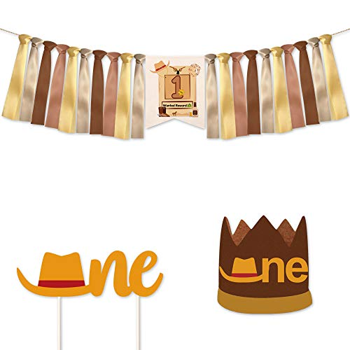 Cowboy Happy Birthday Topper,One Cowboy Banner,One Cowboy Cake Topper,Cowboy Hat,Cowboy Party Supplies Boots Horses Boy Banner(3pcs)