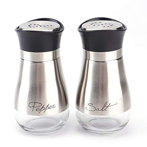 Lawei 2er Pack Gewürzstreuer Edelstahl mit Glasboden, Salzstreuer Pfefferstreuer für Gewürze Kräuter, 120ml