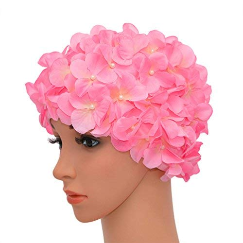 medifier Vintage Blumenmuster Retro Badekappe Badehaube für Damen, rose