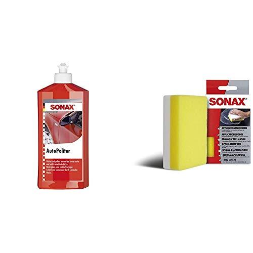 SONAX AutoPolitur (500 ml) für neuwertige, Matte und leicht verwitterte Bunt- und Metallic-Lacke & ApplikationsSchwamm (1 Stück) zum Auftragen und Verarbeiten von Polituren, Wachsen