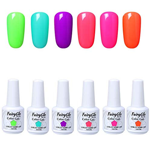 UV Nagellack UV Gel Nagellack Set Nail Polish Set Soak Off UV LED Gel Shellac Nägelgel Set 6 Farben 15ml von Fairyglo - G15602