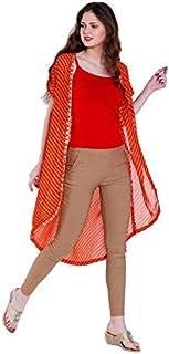 ATEESA By FBB Stripes Slit Cut Shrug Orange