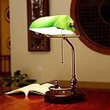 FENGZE Klassische Vintage Banker Lampe Tischlampe E27 Mit Schalter Grün/Gelb Glas Lampenschirm Schreibtisch Lichter Für Schlafzimmer Studie Zu Hause Reading China/Grüne Schiffe