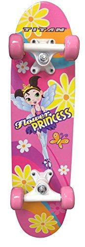 TITAN Flower Princess Pink Girls Skateboard, Single Kick-Board, 24' Maple Skate Deck