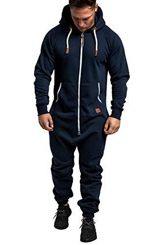 Amaci&Sons Herren Overall Jumpsuit Jogging Onesie Trainingsanzug 3007 Navyblau/Weiß S