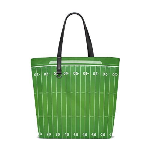 XiangHeFu Damen Handtasche American Football Field Polyester Stoff Schultertasche