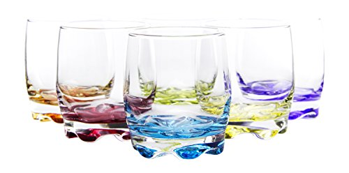 Vibrant Splash Water Beverage Glasses, 9.75 Ounce, Set of 6, 3.5 Inches Each