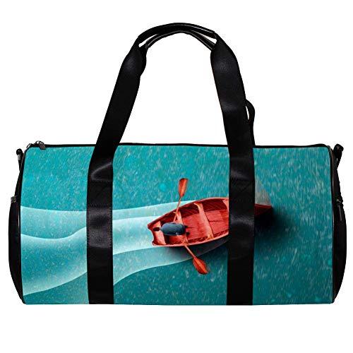 Bolsas de Deporte Infantiles Paseo en Bote por el mar Azul Bolsa de Viaje Impermeable Bolsa Deportiva Bolsa de Natación Bolsa Gimnasio Bolso para Picnic Camping Vacaciones 45x23x23cm