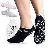 OXENSPORT rutschfeste Socken mit Noppel für extra Grip, Jumping, Pilates, Barre, Piloxing, Ballet, ABS, Yoga Socken, 2 Größen (Schwarz - 2 Paar, EU 35-38)