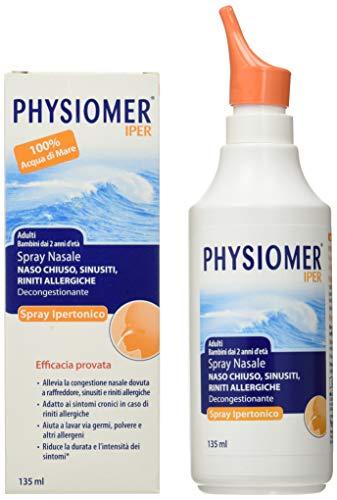 Physiomer Iper Siero di Mare Spray Nasale Ipertonico Decongestionante Adatto per Adulti e Bambini che Libera la Congestione del Naso - 135 ml