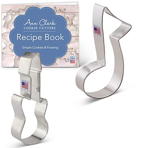 Ann Clark Cookie Cutters 2-Piece Rock and Roll Music Cookie Cutter Set with Recipe Booklet, Electric Guitar and Music Note