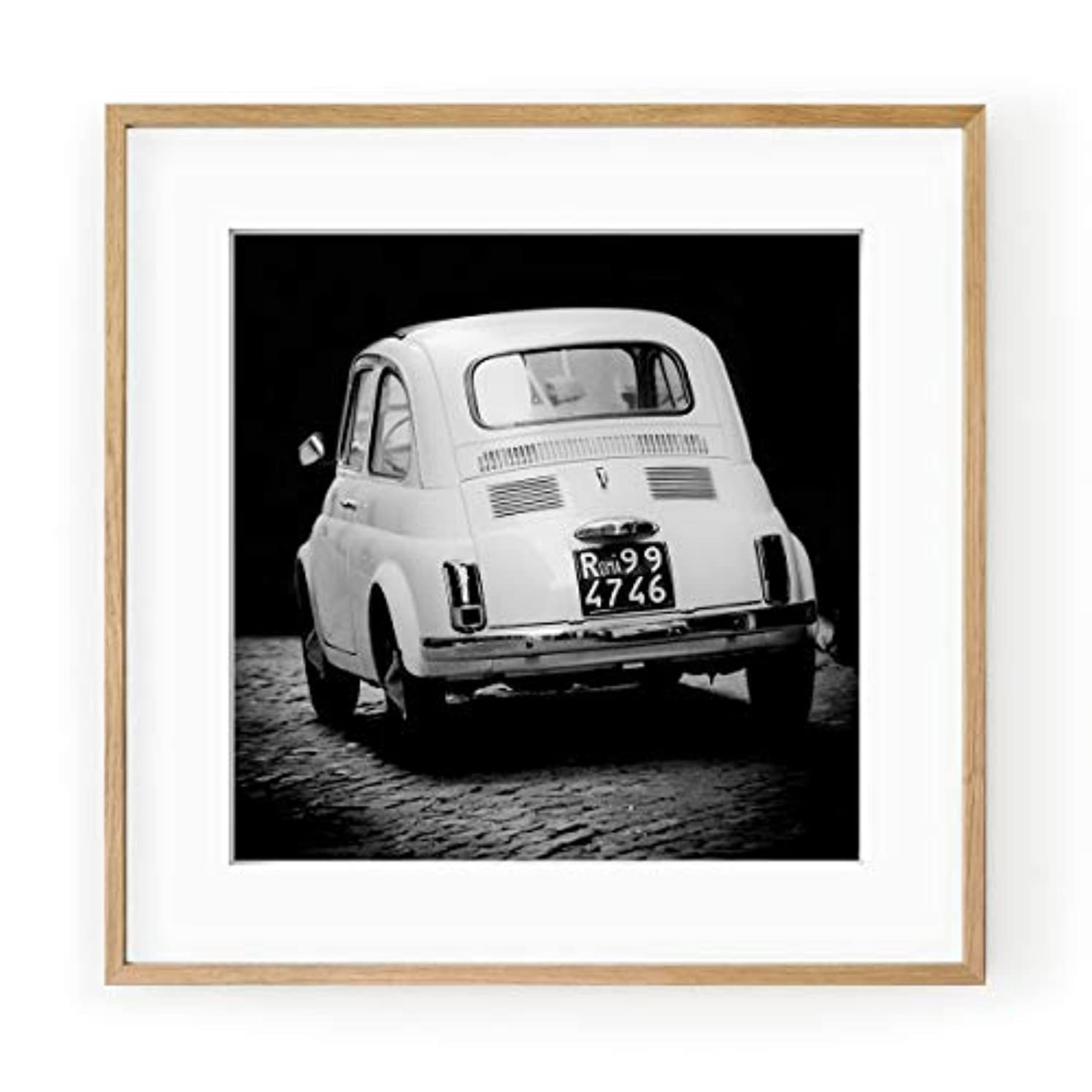 Fiat 500 Black and White Solid Oak Natural Frame with Mount, Multicolored, 50x50