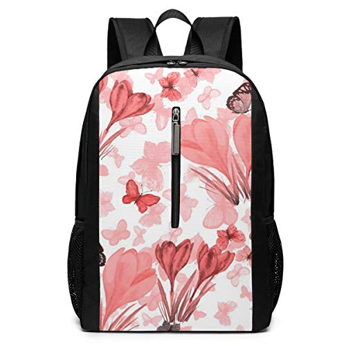 Watercolor Easter Pink Flower Butterfly Fashion Backpack Shoulder Daypack Bag for Womens Mens Teen Boys 17'