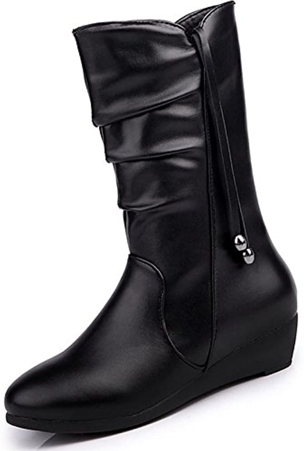 HSXZ Women's shoes PU Winter Comfort Boots Null Flat Round Toe MidCalf Boots   for Outdoor Black