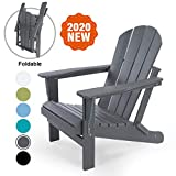 LAYRIAR HDPE Classic Outdoor Foldable Adirondack Chair for Patio Deck Garden,Backyard & Lawn Furniture,Gray