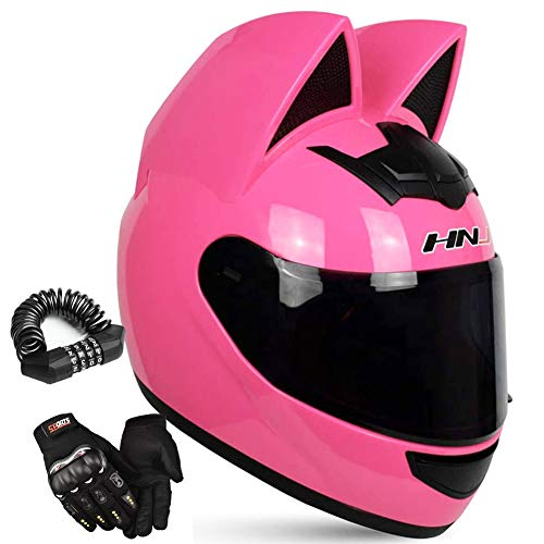 motorcycle street helmets Full Face Motorcycle Street Helmet Women Cat Helmet with Ears,Creative Horn Off Road Motocross Helmet for Men & Women,Adult