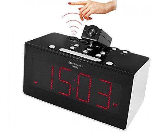Soundmaster FUR6005 Funkgesteuertes Uhrenradio mit Projektion & IR-Sensor