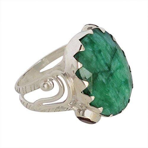 Anillo de plata de ley 925 con piedras preciosas esmeraldas, joyería hecha a mano, regalo de cumpleaños FSJ-1096, Piedra, Emerald,