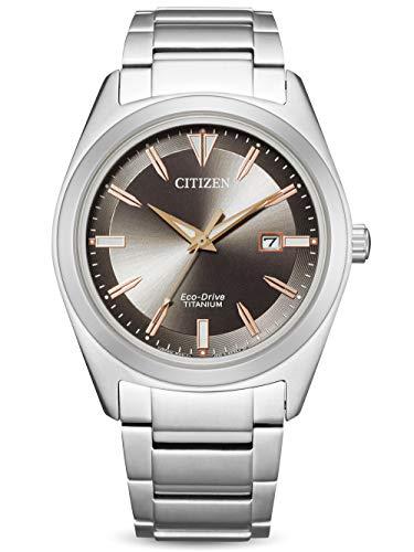 CITIZEN Reloj Análogo para de los Hombres de Eco-Drive con Correa en Super Titanio AW1640-83E
