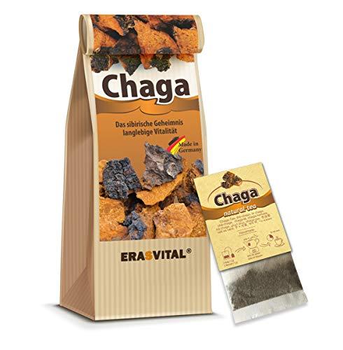 CHAGA NATUR-TEE 20 Teebeutel = 20 g MIT TASSENREITER OHNE DEKOR Pilz aus Sibirien natürlich wild gesammelt Schonend getrocknet Roh & Vegan In Deutschland Laborgeprüft