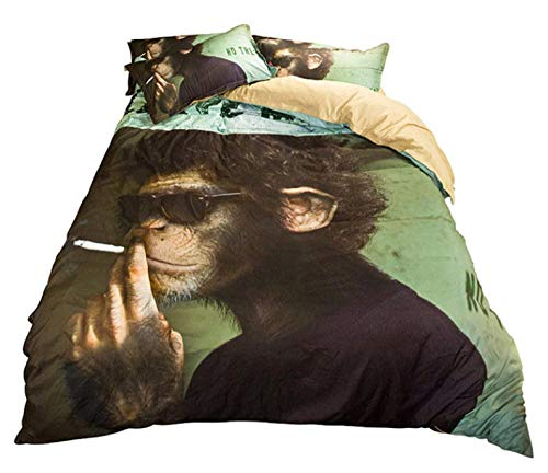 AIKIBELL 3D bedding-digital printing-smoking monkey-bedding set-duvet cover + pillowcase 2-3 bed cover-teenager-Christmas gift-220×240cm