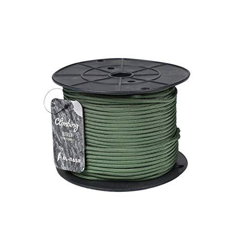 QDTD Cuerda Verde 4mm Trepar A Los Árboles De Tracción Escalada Acampada Liado Fijado Cuerda De Seguridad De Rescate De Evacuación Prevención De Desastres Arnés De Cuerda De Escalada (Tamaño:100m)