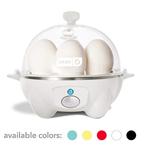 Dash Rapid Egg Cooker: 6 Egg Capacity Electric Egg Cooker for Hard Boiled Eggs, Poached Eggs, Scrambled Eggs, or Omelets with Auto Shut Off Feature - White