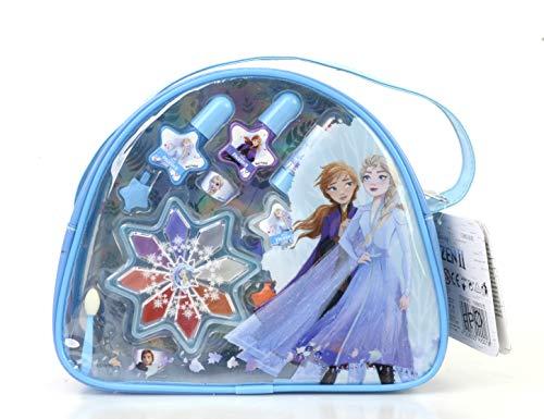 Disney 1580164E Frozen II Schminktasche mit verschiedenen Frozen II Motiven enthält Ringe, Haarspangen und wasserlösliche Kinderschminke für Augen, Lippen und Nägel im Anna & Elsa-Design