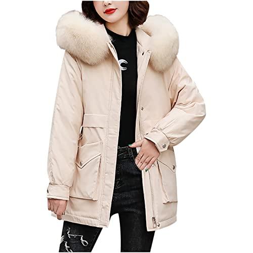 UEsent Chaqueta de algodón de invierno para mujer, de manga larga, monocolor, con capucha, cortavientos, gruesa, cálida, cálida, para invierno, chaqueta de plumón, con capucha, Blanco, XXL