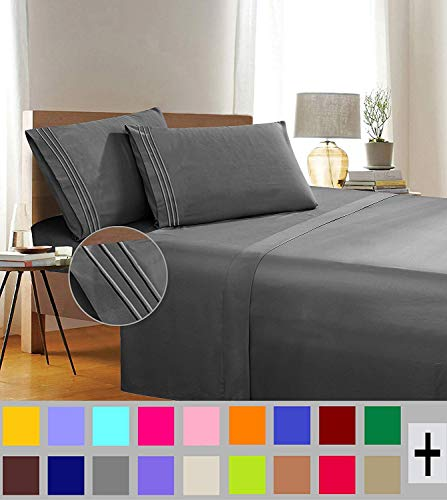 Elegant Comfort 1500 Thread Count Egyptian Quality 6 Piece Wrinkle Free and Fade Resistant Luxurious Bed Sheet Set Cream Queen