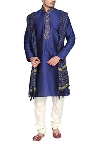 Krishna Sarees Sonisha MKP9007 Blau und Elfenbein Kurta Pyjama Herren Bollywood Sherwani Tunic (Chest 52 Inches)
