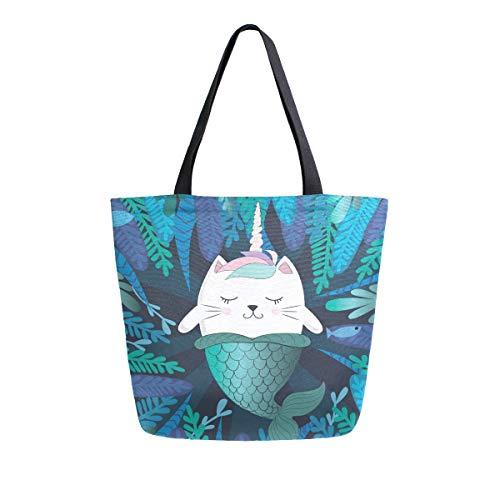 Mnsruu Bolso de lona reutilizable para hombro/mano, bolsa de la compra, unicornio mágico, gato sirena, algas marinas, bolsa de viaje para la universidad, para mujeres y niñas