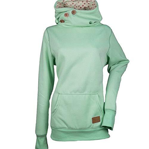 OverDose Damen Oktoberfest Herbst Winter Mode Frauen Skew Neck Dating Elegant Schlank Langarm Gestreiften Patchwork Button Sweatshirt Top Pullover Outwear(Y-Grün,44 DE / 4XL CN)