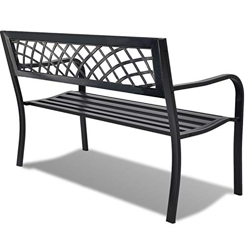 Garden Bench Yard Outdoor Patio with Armrests Sturdy Steel Frame Furniture Metal Bench Porch Work Easy Assembly,Black