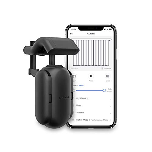SwitchBot Curtain Smart Electric Motor - Wireless App or Automate Timer Control, Add Hub Mini/Plus Compatible with Alexa, Google Home, HomePod, IFTTT (Rod, Black)