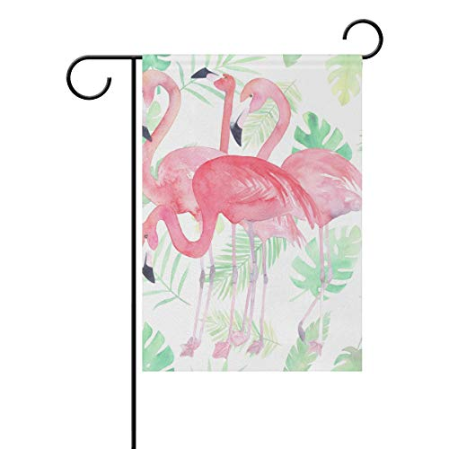 Jessgirl Motif Oiseau Flamingo Animal 12x18 Pouce Vertical Double Face Premium Jardin Drapeaux Cour Extérieure Décorative Saisonnier