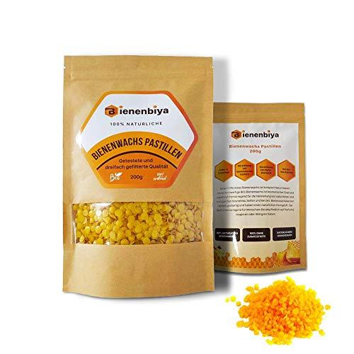 Bienenbiya® 100% Reine Bienenwachs Pastillen ohne Zusatzstoffe, 200g natürliches Bio Beeswax für Salben,Kosmetika,Seifen,Bienenwachstücher,Kerzenherstellung und Leder-/Holzpflege