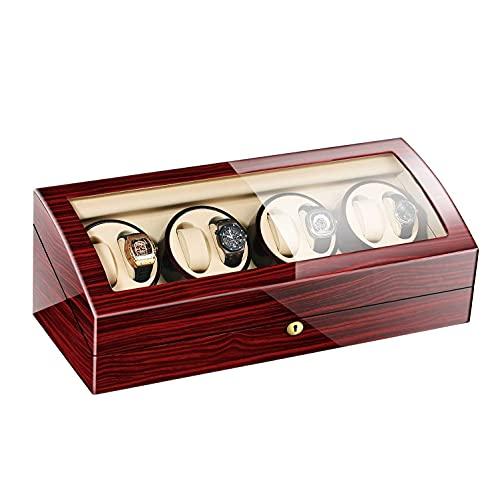 YANSJD Enrolladores de Relojes, Caja enrolladora automática de Relojes 8 + 8, Cajas de Relojes con Pilas silenciosas de Madera, enrolladores, Almacenamiento de Pantalla